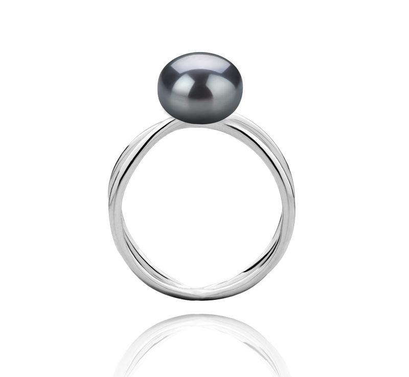 8-9mm AAA Quality Freshwater Cultured Pearl Ring in Esty Black - #4