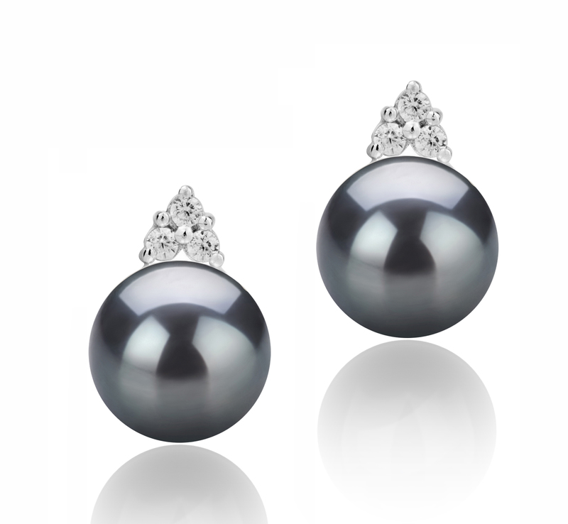 8-9mm AAAA Quality Freshwater Cultured Pearl Earring Pair in Evelyn Black - #1
