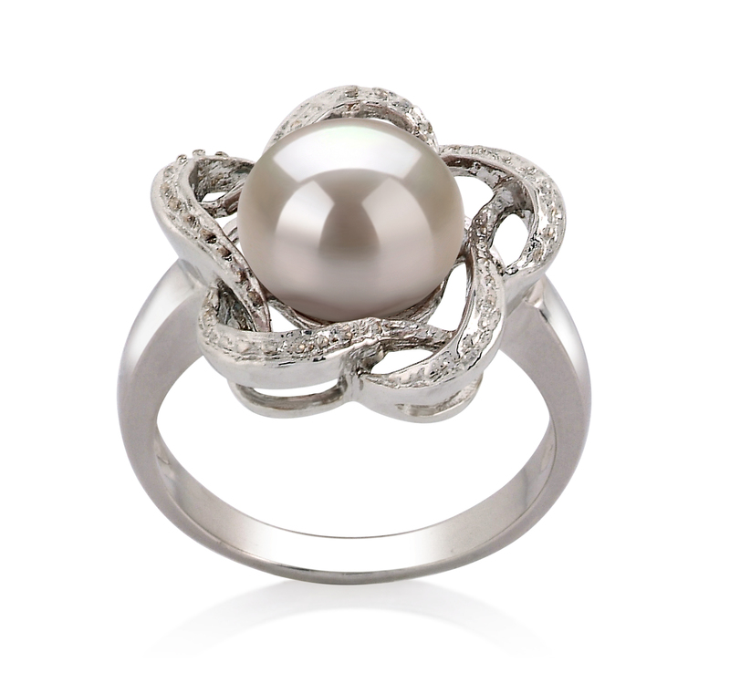 9-10mm AA Quality Freshwater Cultured Pearl Ring in Fiona White - #1