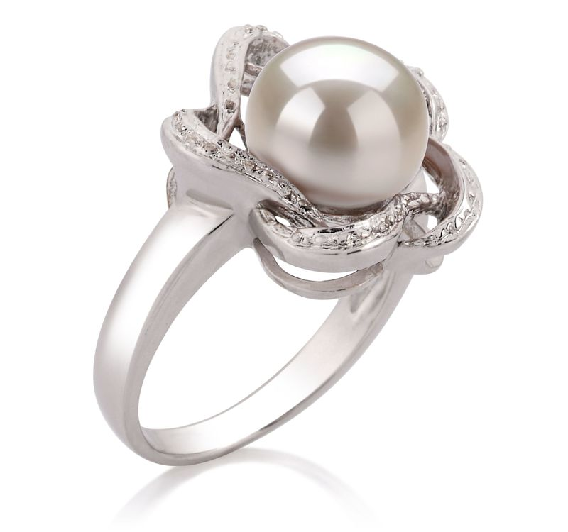9-10mm AA Quality Freshwater Cultured Pearl Ring in Fiona White - #2