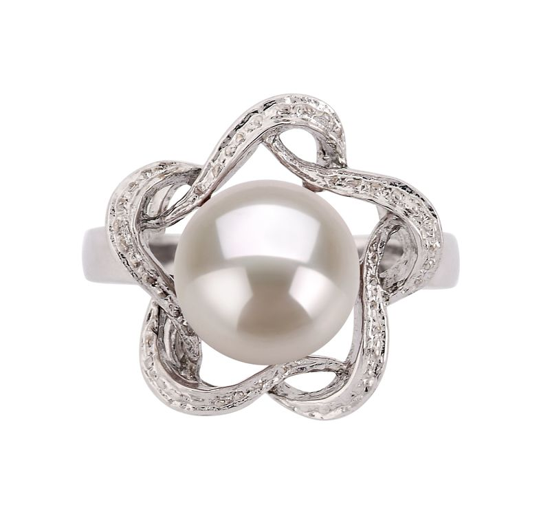 9-10mm AA Quality Freshwater Cultured Pearl Ring in Fiona White - #3