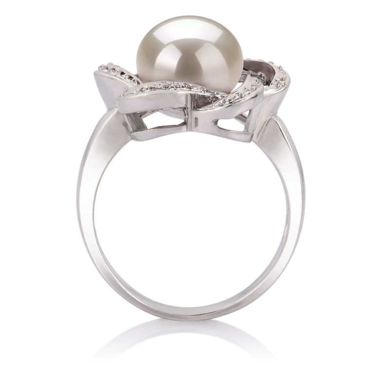 9-10mm AA Quality Freshwater Cultured Pearl Ring in Fiona White - #5