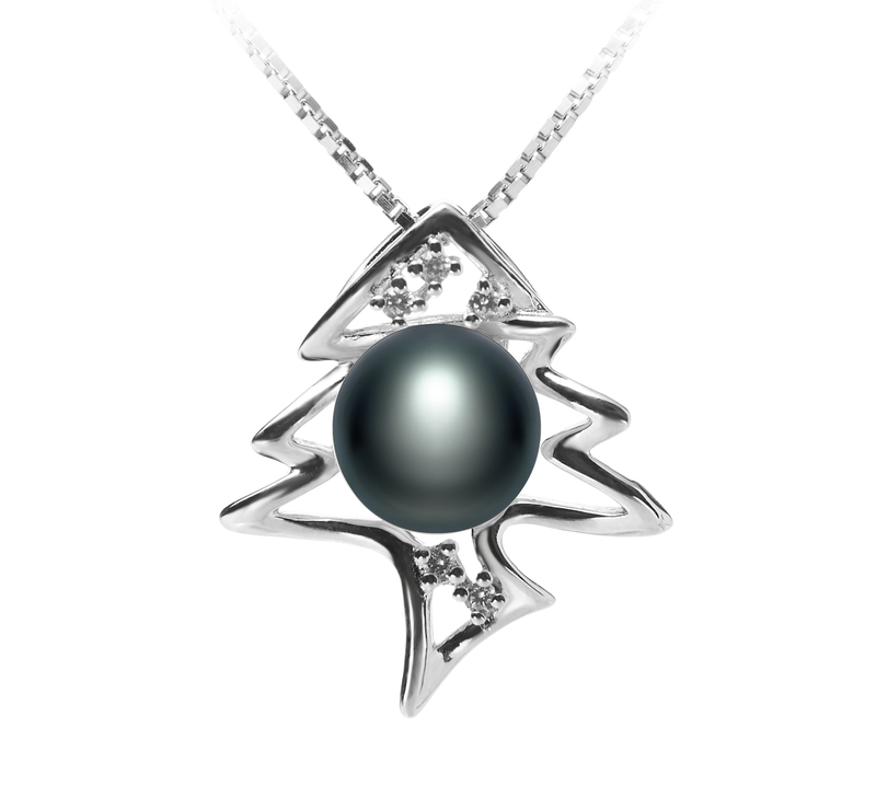 7-8mm AA Quality Freshwater Cultured Pearl Pendant in Fishbone Black - #1