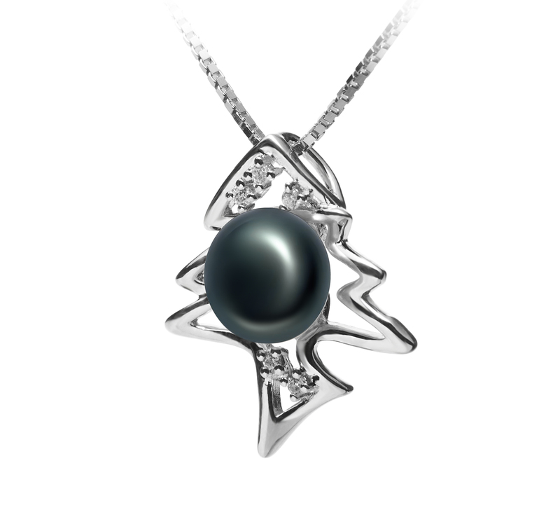 7-8mm AA Quality Freshwater Cultured Pearl Pendant in Fishbone Black - #2