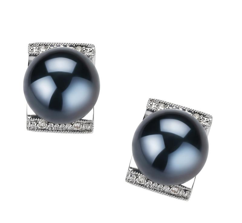 8-9mm AA Quality Japanese Akoya Cultured Pearl Earring Pair in Francine Black - #1