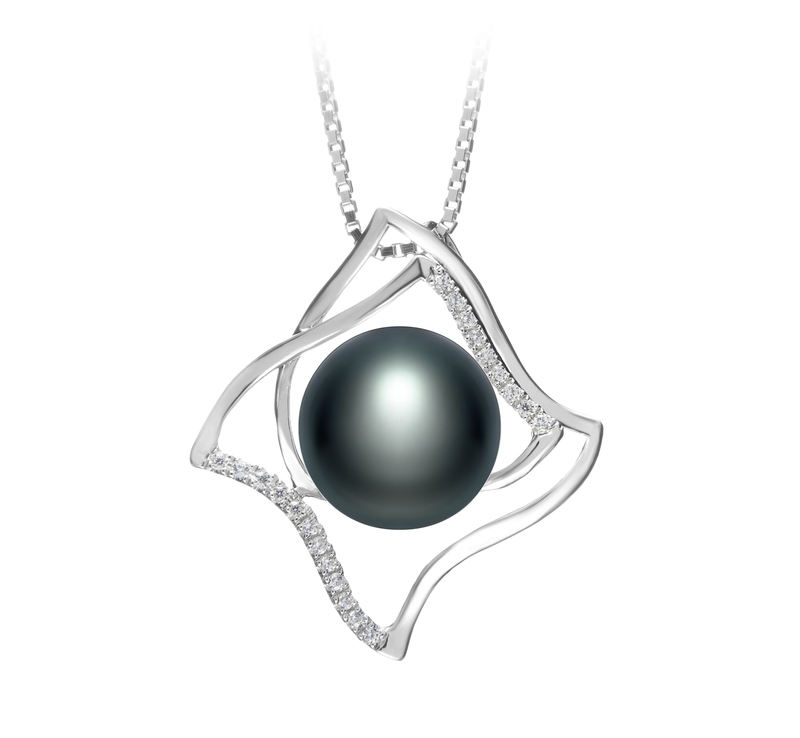 10-11mm AAA Quality Freshwater Cultured Pearl Pendant in Freda Black - #1