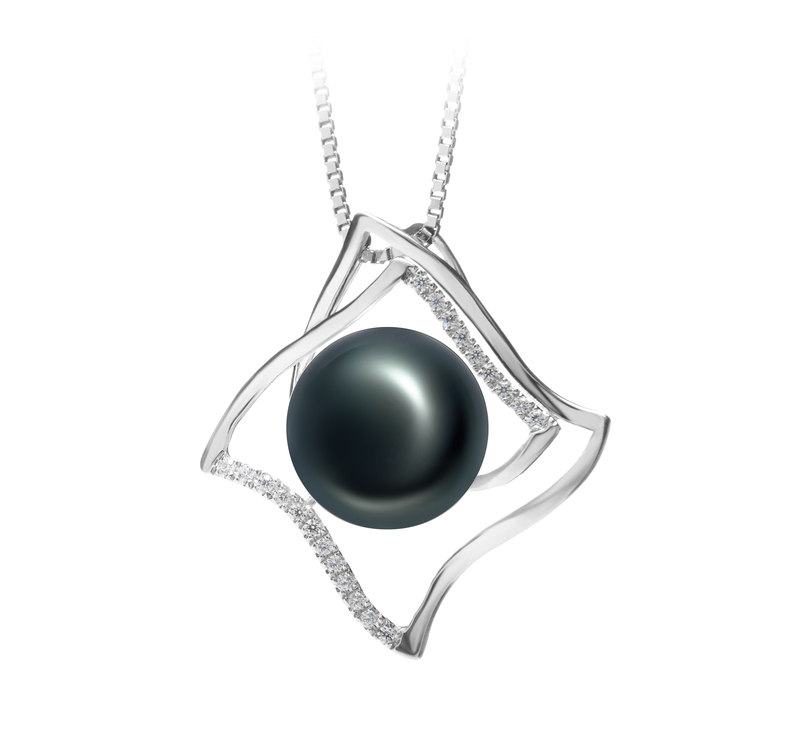 10-11mm AAA Quality Freshwater Cultured Pearl Pendant in Freda Black - #2