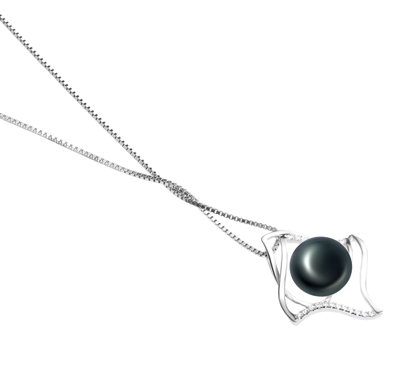 10-11mm AAA Quality Freshwater Cultured Pearl Pendant in Freda Black - #3