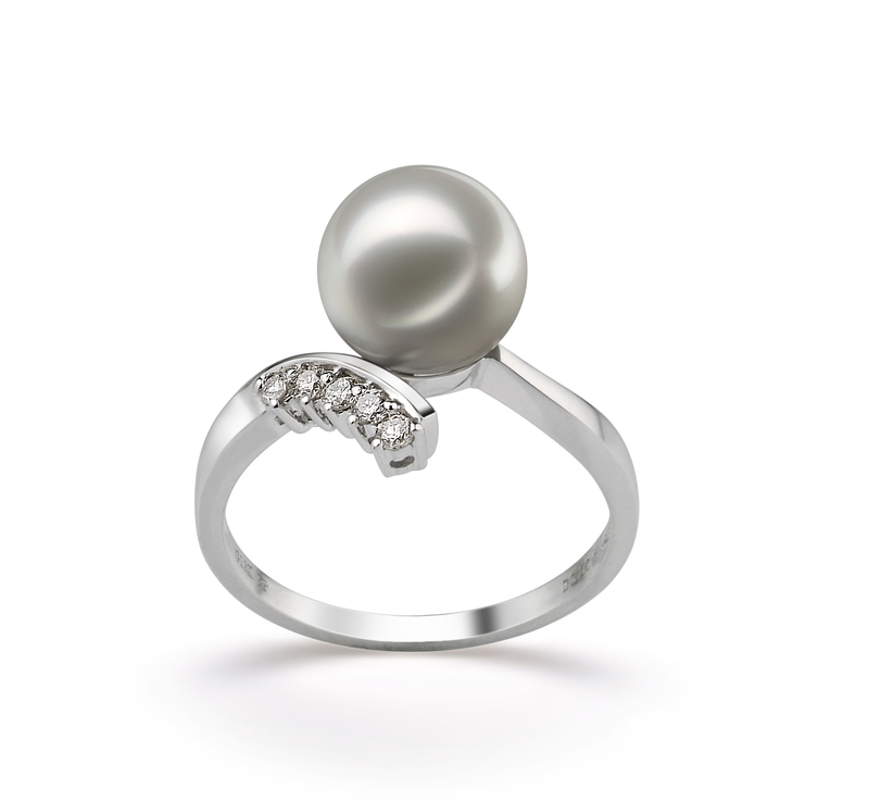 8-9mm AA Quality Japanese Akoya Cultured Pearl Ring in Grace White - #1