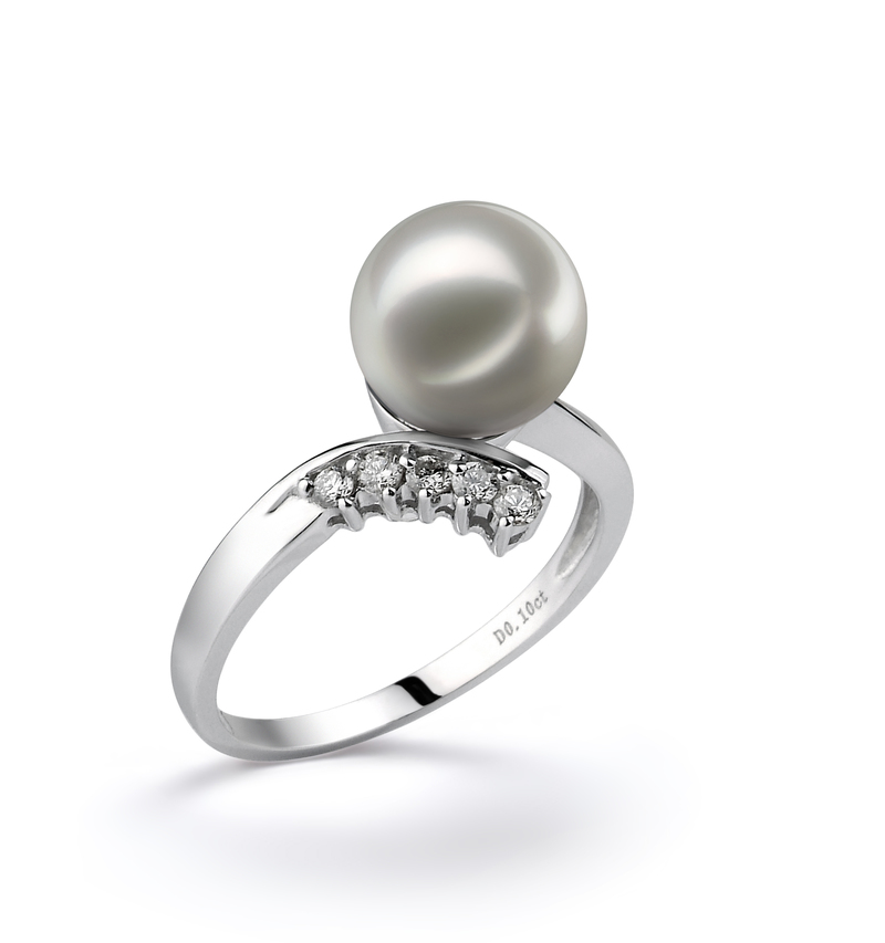 8-9mm AA Quality Japanese Akoya Cultured Pearl Ring in Grace White - #2