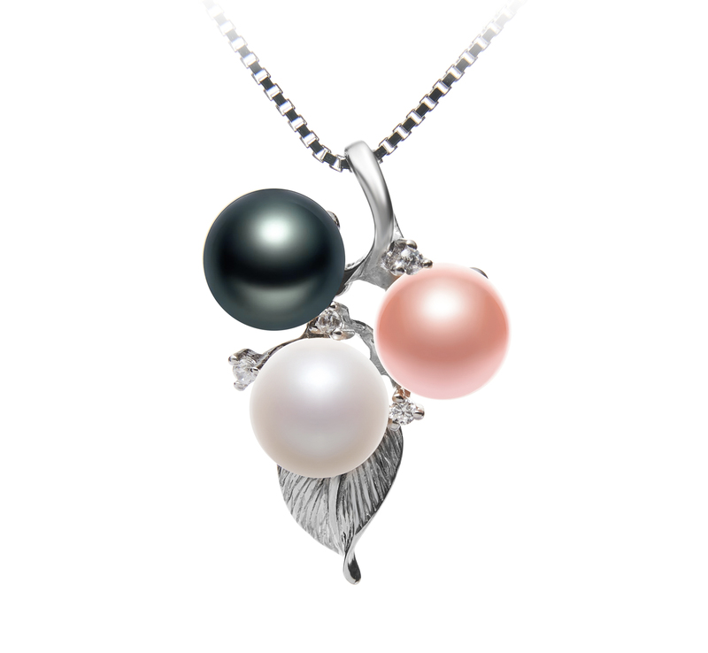 6-7mm AAAA Quality Freshwater Cultured Pearl Pendant in Grape Multicolor - #1