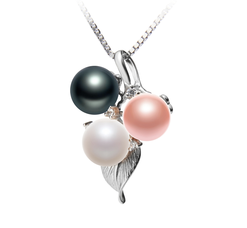 6-7mm AAAA Quality Freshwater Cultured Pearl Pendant in Grape Multicolor - #2