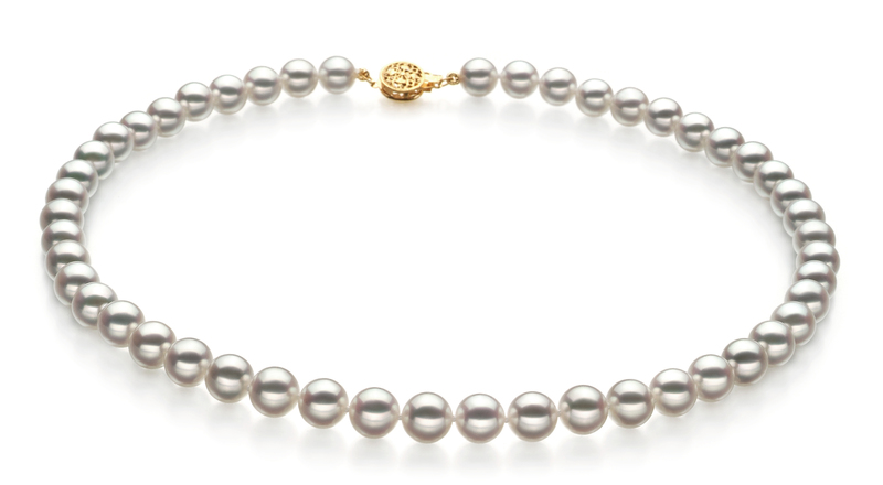8-8.5mm Hanadama - AAAA Quality Japanese Akoya Cultured Pearl Necklace in Hanadama 18-inch White - #1