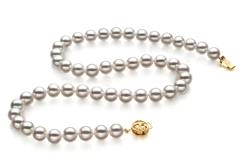 8-8.5mm Hanadama - AAAA Quality Japanese Akoya Cultured Pearl Necklace in Hanadama 18-inch White - #2