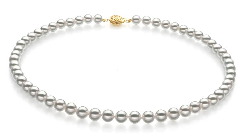 7-7.5mm Hanadama - AAAA Quality Japanese Akoya Cultured Pearl Necklace in Hanadama 23-inch White - #1
