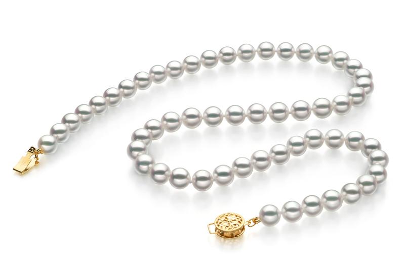 7-7.5mm Hanadama - AAAA Quality Japanese Akoya Cultured Pearl Necklace in Hanadama 23-inch White - #2