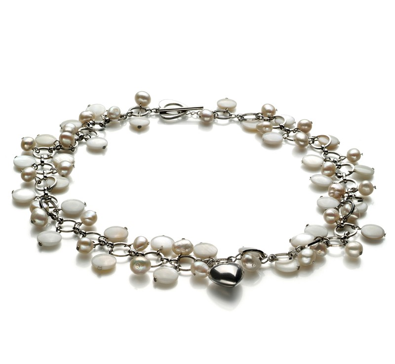 6-7mm A Quality Freshwater Cultured Pearl Necklace in Harmony - Pearl with Heart Charms White - #1