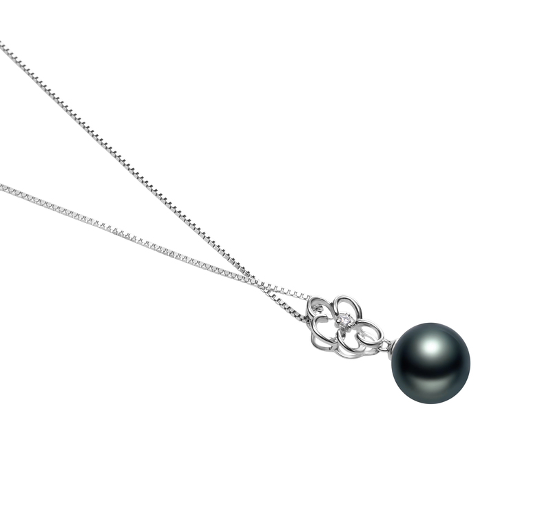 10-11mm AAA Quality Tahitian Cultured Pearl Pendant in Hilary Black - #3