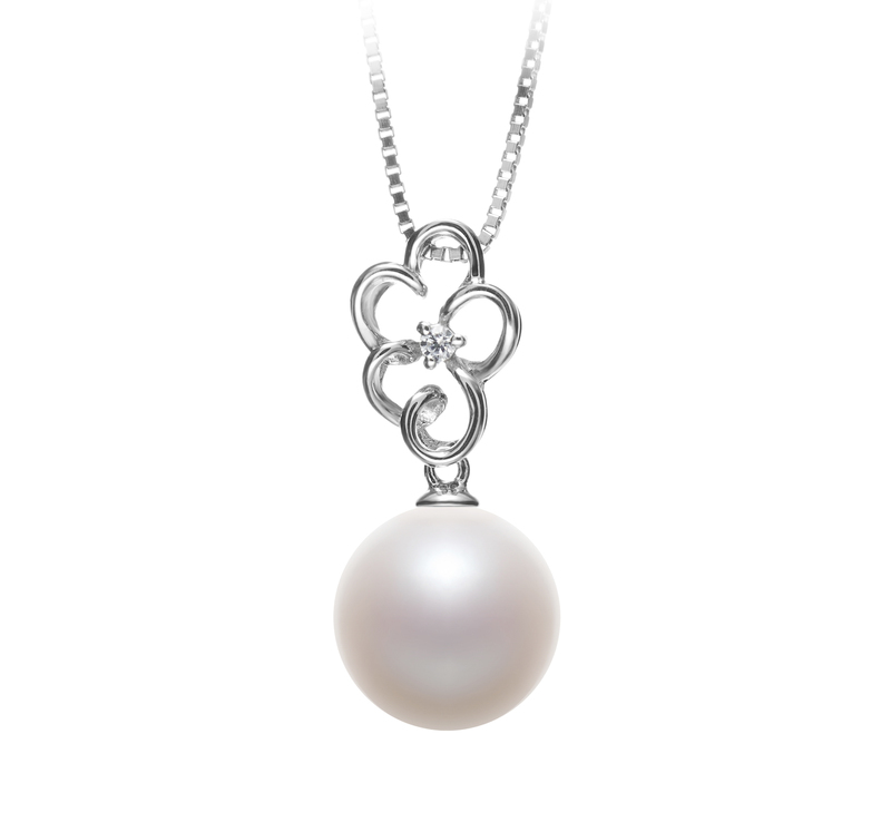10-11mm AAAA Quality Freshwater Cultured Pearl Pendant in Hilary White - #1
