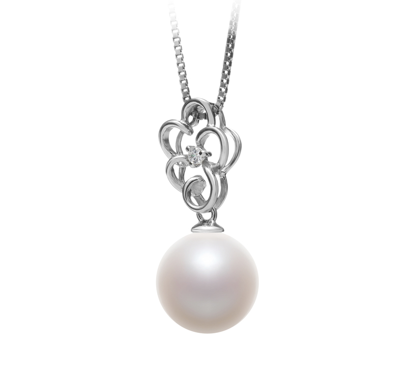 10-11mm AAAA Quality Freshwater Cultured Pearl Pendant in Hilary White - #2