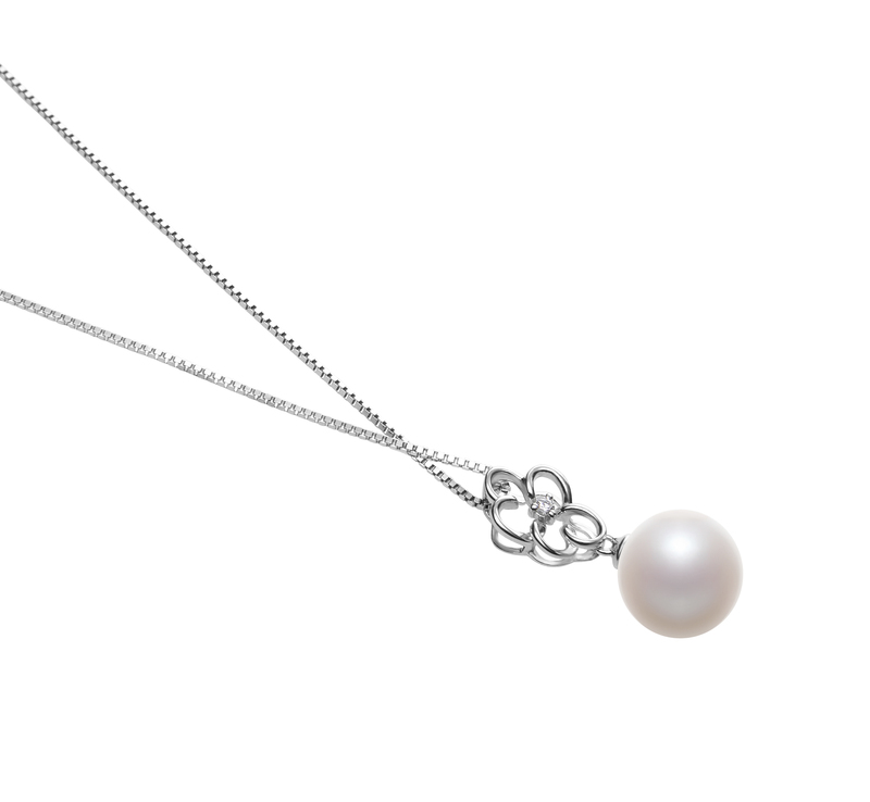 10-11mm AAAA Quality Freshwater Cultured Pearl Pendant in Hilary White - #3