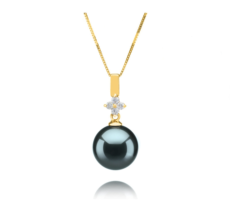 10-11mm AAA Quality Tahitian Cultured Pearl Pendant in Hilda Black - #1