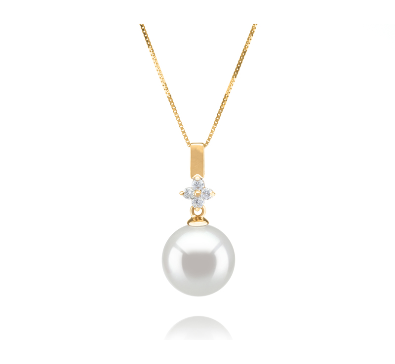 10-11mm AAA Quality South Sea Cultured Pearl Pendant in Hilda White - #1