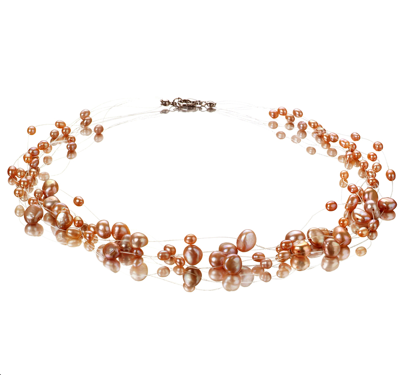 4-8mm A Quality Freshwater Cultured Pearl Necklace in Illusion Pink - #1