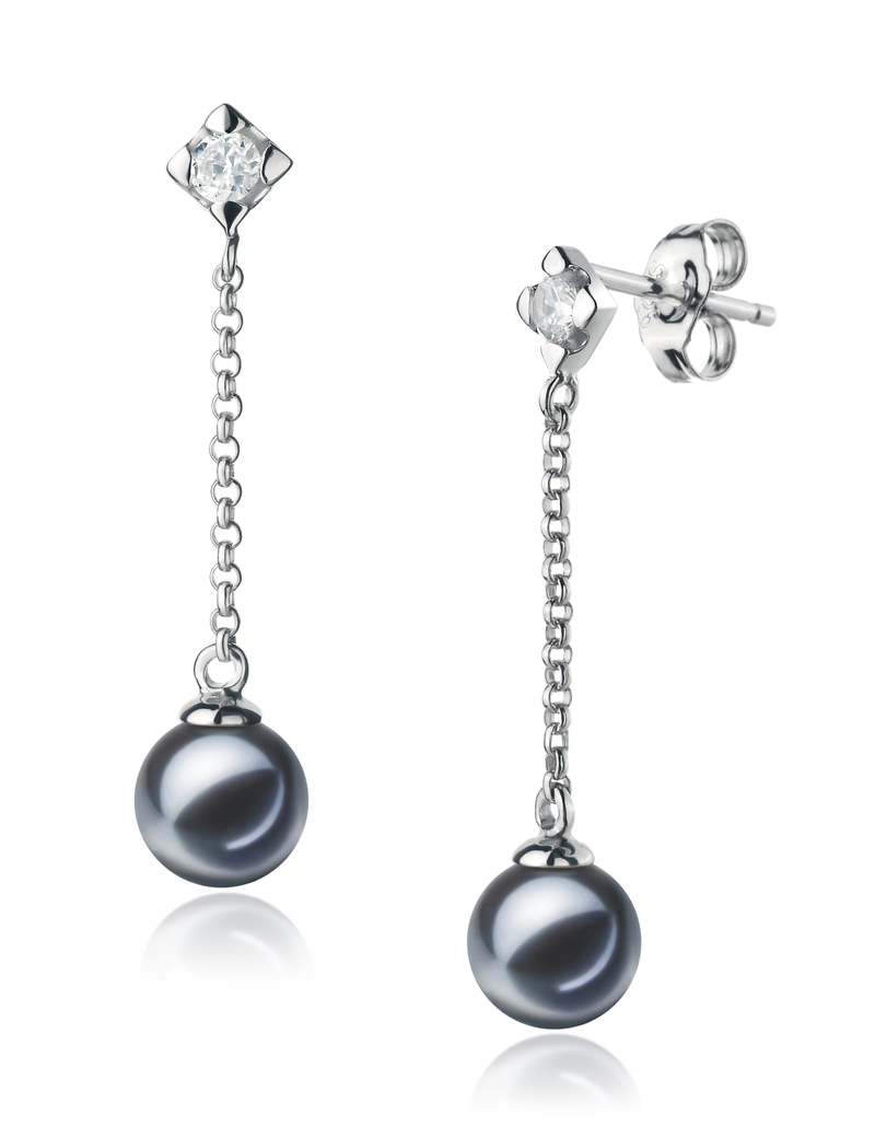 6-7mm AAAA Quality Freshwater Cultured Pearl Earring Pair in Ingrid Black - #2