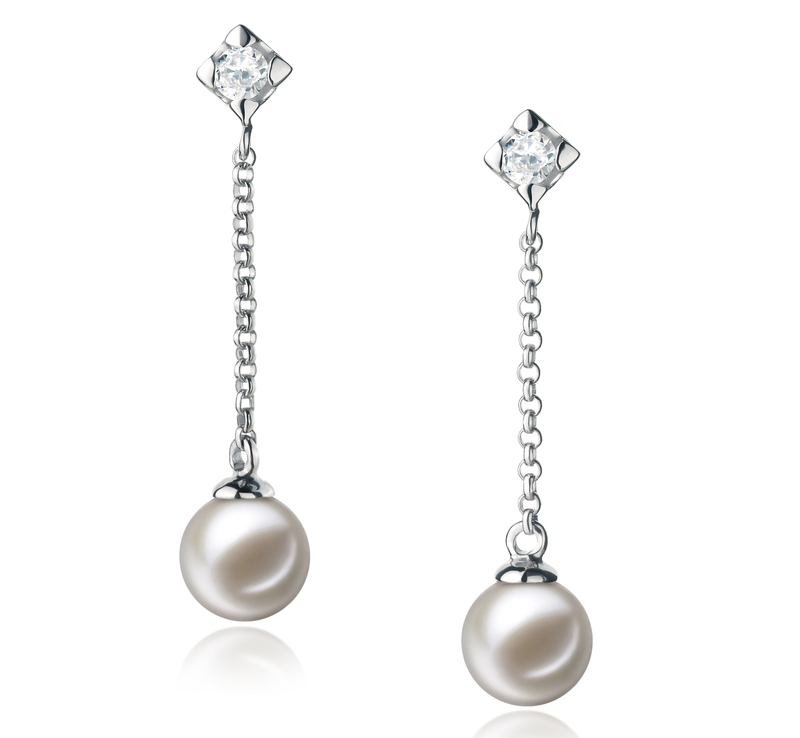 6-7mm AAAA Quality Freshwater Cultured Pearl Earring Pair in Ingrid White - #1