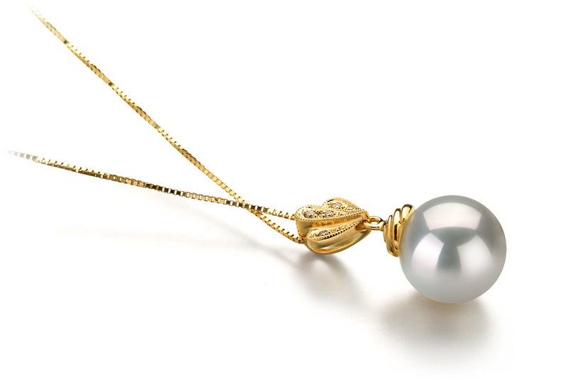 10-11mm AAA Quality South Sea Cultured Pearl Pendant in Ivana White - #3