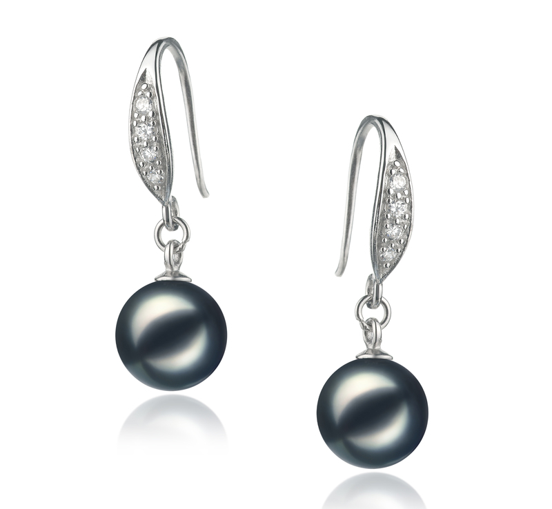 8-9mm AA Quality Japanese Akoya Cultured Pearl Earring Pair in Jacy Black - #1