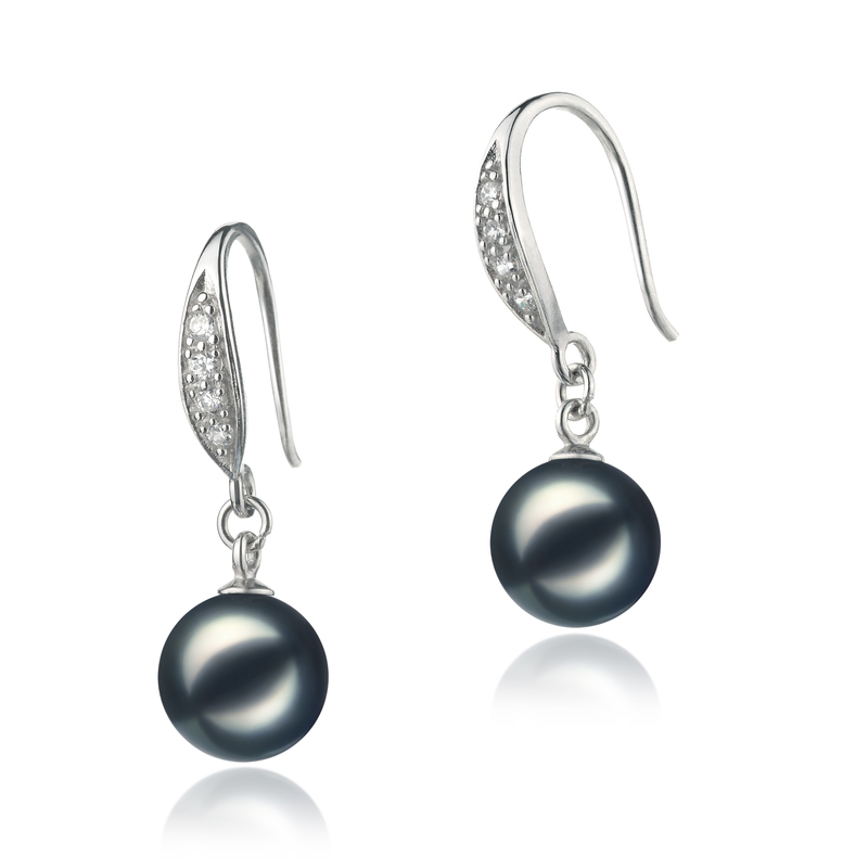 8-9mm AA Quality Japanese Akoya Cultured Pearl Earring Pair in Jacy Black - #2