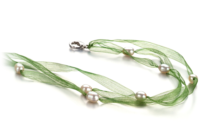 5-6mm A Quality Freshwater Cultured Pearl Necklace in Jasmine White - #2