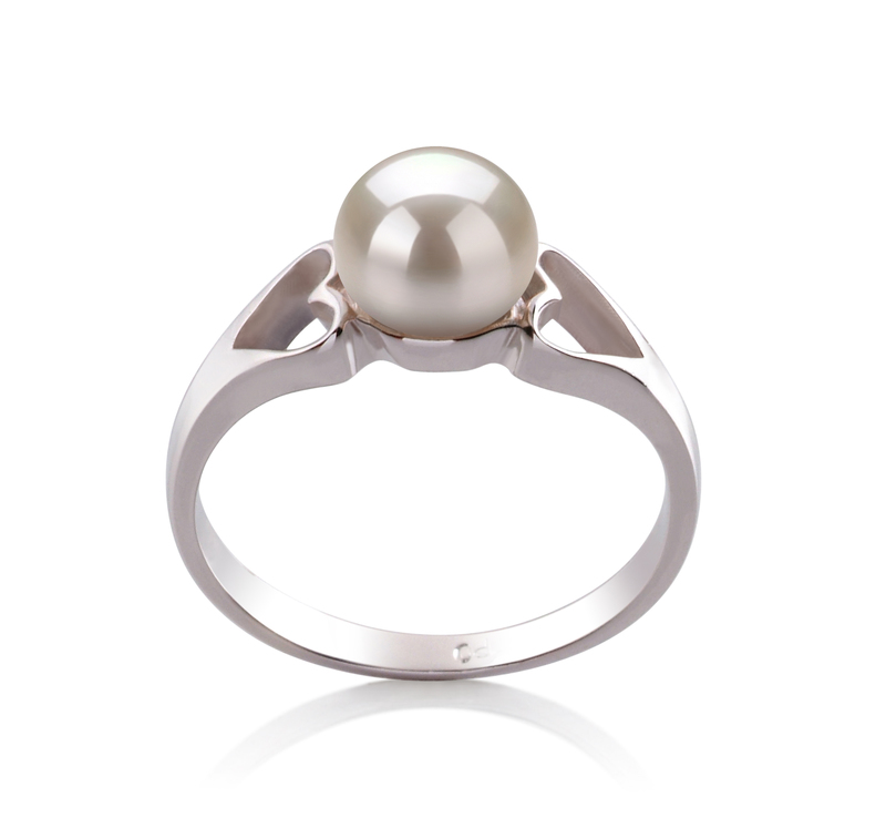 6-7mm AA Quality Freshwater Cultured Pearl Ring in Jessica White - #1