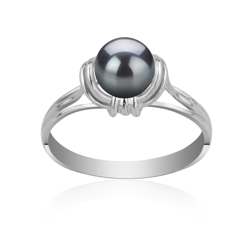 6-7mm AAAA Quality Freshwater Cultured Pearl Ring in Joy Black - #1