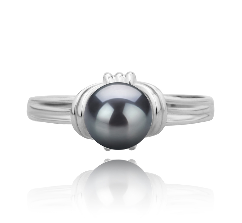 6-7mm AAAA Quality Freshwater Cultured Pearl Ring in Joy Black - #2