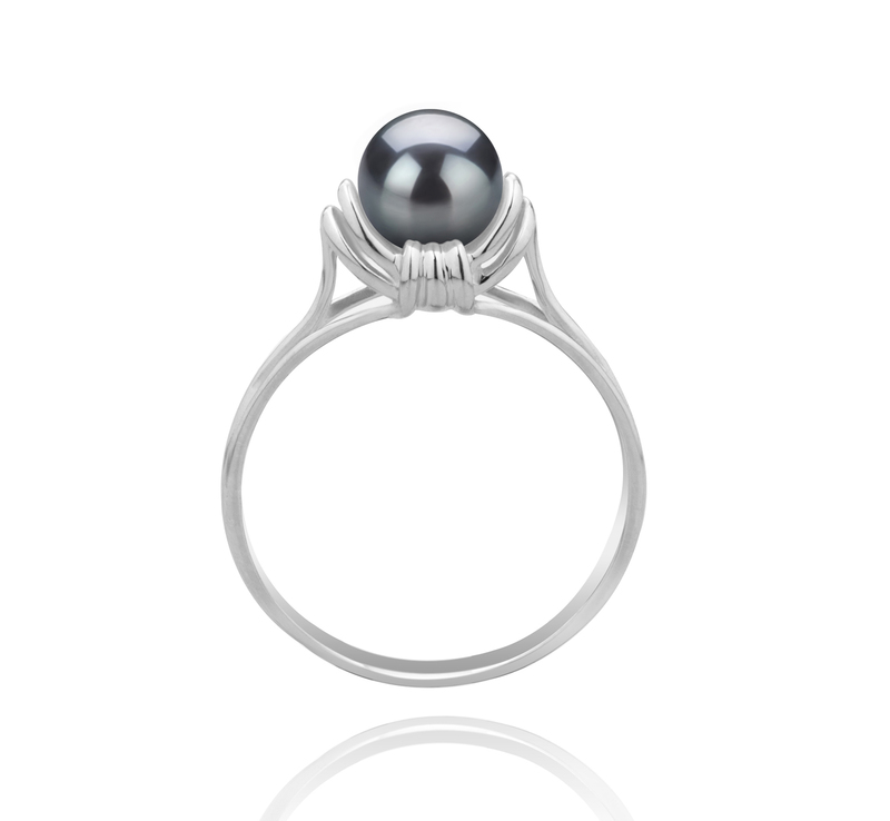 6-7mm AAAA Quality Freshwater Cultured Pearl Ring in Joy Black - #4
