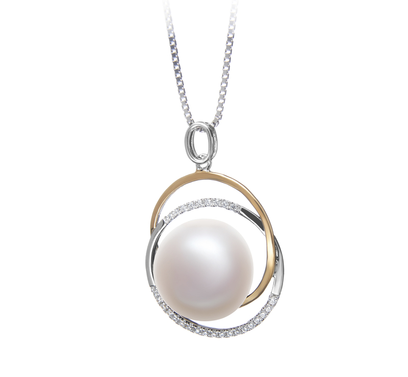 12-13mm AA Quality Freshwater Cultured Pearl Pendant in Judith White - #2