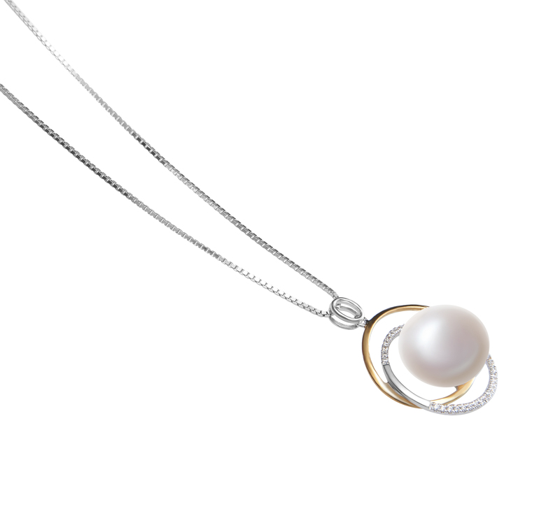 12-13mm AA Quality Freshwater Cultured Pearl Pendant in Judith White - #3