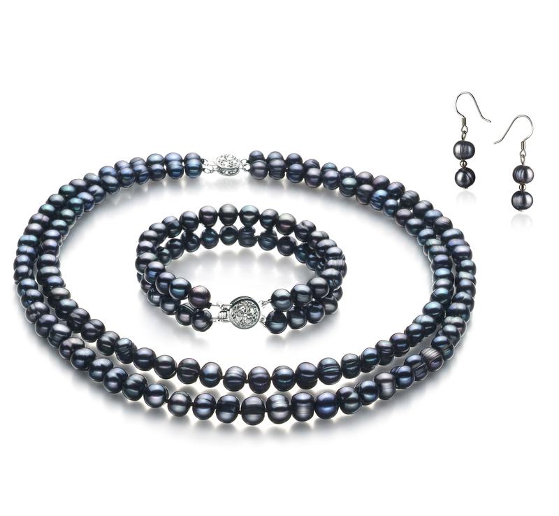 6-7mm A Quality Freshwater Cultured Pearl Set in Julika Black - #1