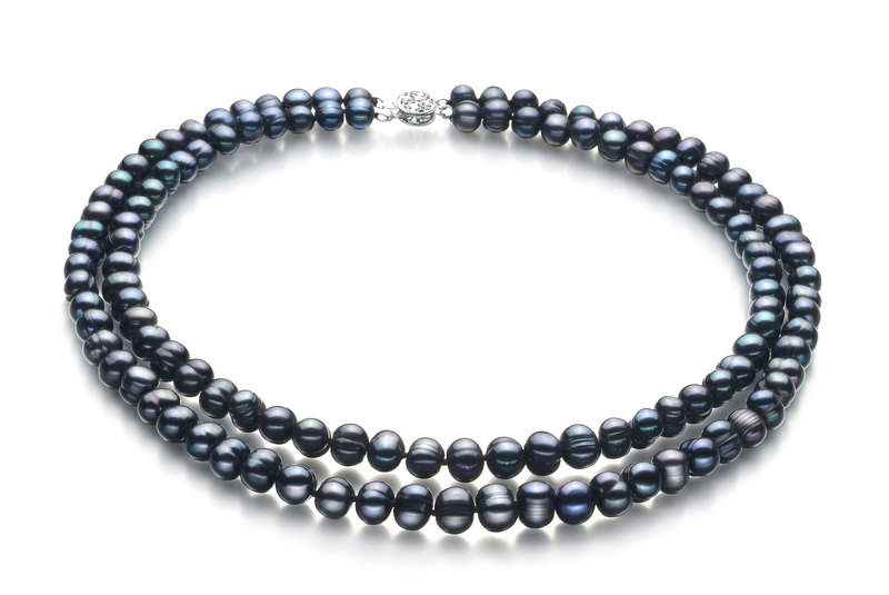 6-7mm A Quality Freshwater Cultured Pearl Set in Julika Black - #2