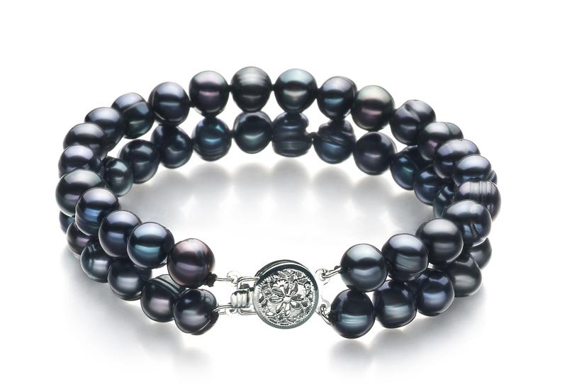 6-7mm A Quality Freshwater Cultured Pearl Set in Julika Black - #3