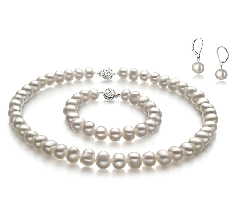 8-9mm A Quality Freshwater Cultured Pearl Set in Kaitlyn White - #1