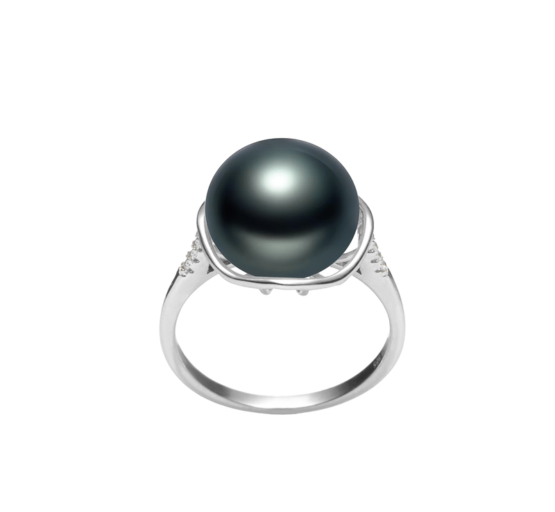 11-12mm AAA Quality Freshwater Cultured Pearl Ring in Kalina Black - #1