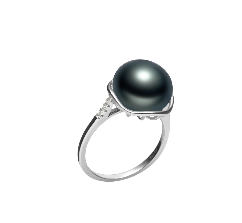 11-12mm AAA Quality Freshwater Cultured Pearl Ring in Kalina Black - #2