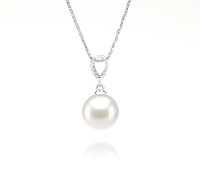 9-10mm AAAA Quality Freshwater Cultured Pearl Pendant in Karen White - #1