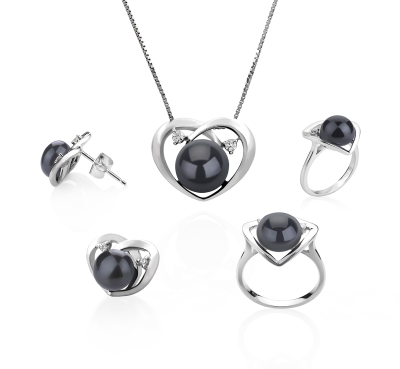 7-10mm AA Quality Freshwater Cultured Pearl Set in Katie Heart Black - #2