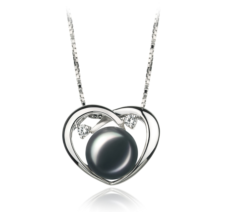 7-10mm AA Quality Freshwater Cultured Pearl Set in Katie Heart Black - #5