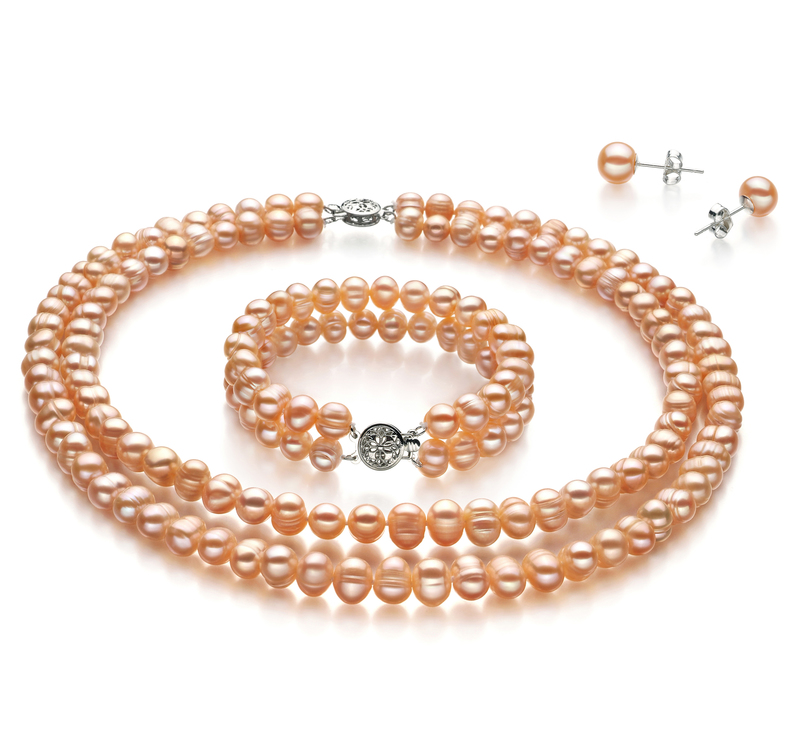 6-7mm A Quality Freshwater Cultured Pearl Set in Kayra Pink - #1